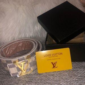 Louis Vuitton White Checkered Belt
